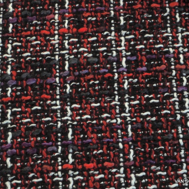 Fashion fabric Italy bouclé Tweed in violet-red-black
