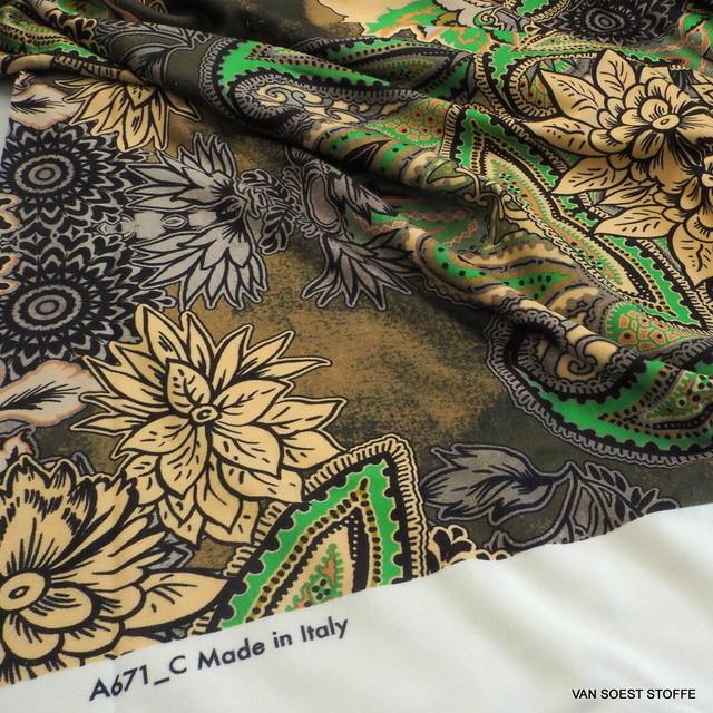 Modestoffe Italien auf schweren Viskose Stretch Jersey in Giftgrün-Camel bedruckt