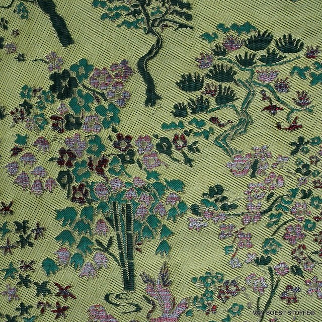 Modischer original China Jacquard in Gelb - Grün