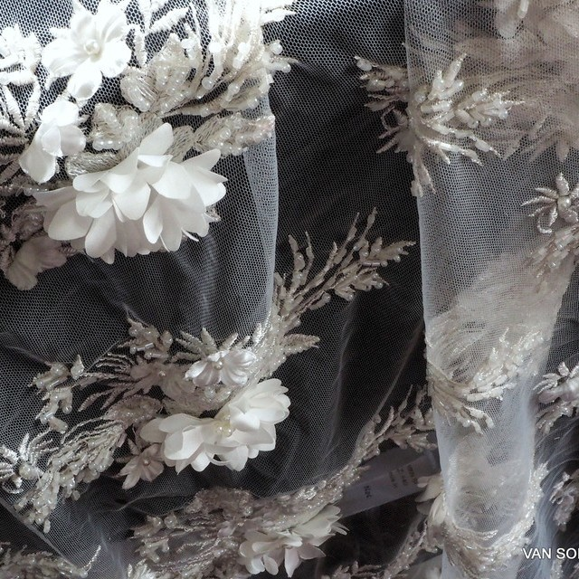 Beads + stabs with 3D couture flowers on tulle | View: Beads + stabs with 3D couture flowers on tulle