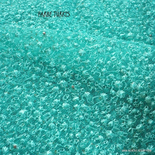 Perlen auf mikro Blümchen Stretch Glitter Tüll in Türkis | Ansicht: Perlen auf mikro Blümchen Stretch Glitter Tüll in Türkis