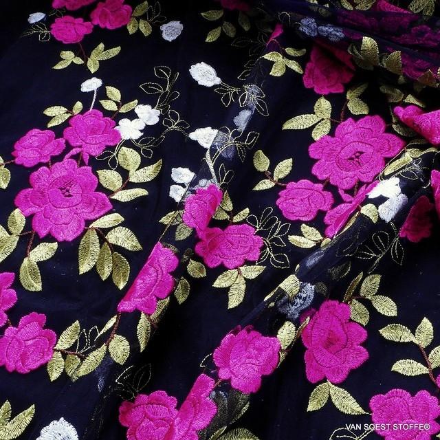 Pink - Oliv mit Blumen und Blätter auf schwarzen Tüll   Ansicht: Pink - Oliv mit Blumen und Blätter auf schwarzen Tüll
