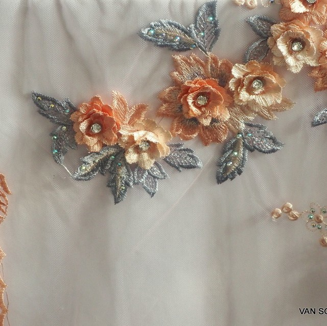 ROKOKO in 3D fabric in rosé gray salmon with rhinestones on rose tulle.