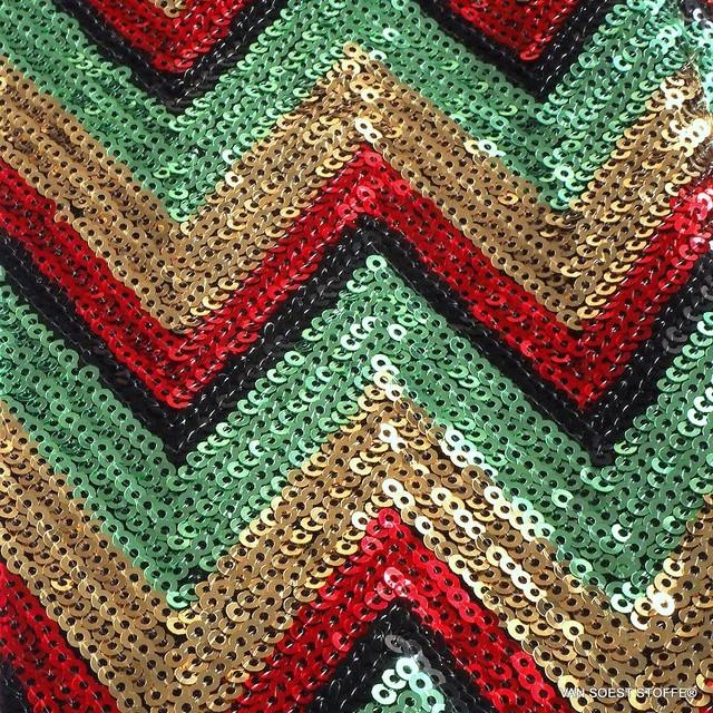 Retro 30-iger Jahre Zacken in Schwarz-Gold-Rot-Grün | Ansicht: Retro 30-iger Jahre Zacken in Schwarz-Gold-Rot-Grün