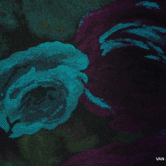 Rosen Schatten Jacquard in Lila Türkis Schwarz | Ansicht: Rosen Schatten Jacquard in Lila Türkis Schwarz