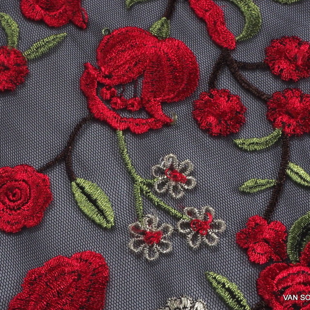 Rose embroidery on black mesh | View: Rose embroidery on black mesh