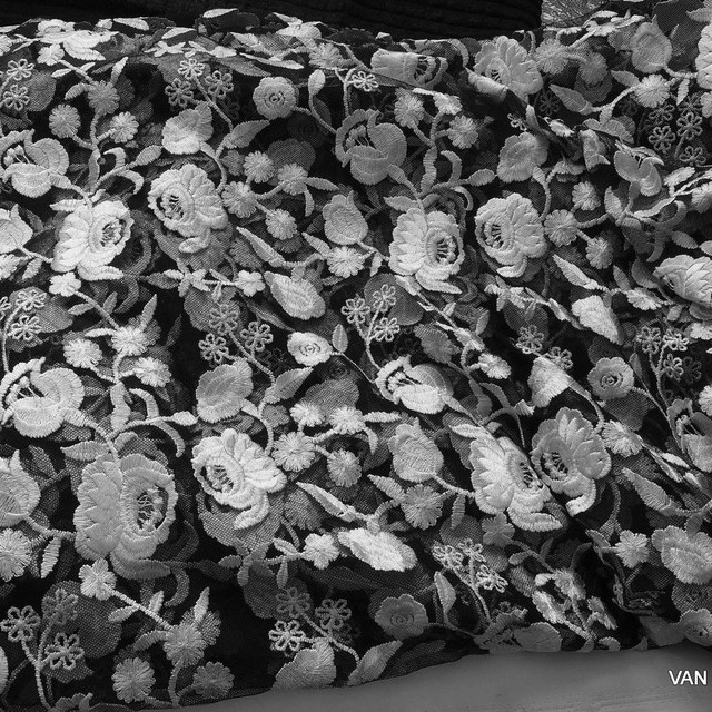 Rose embroidery in black - white on black soft tulle | View: Rose embroidery in black - white on black soft tulle