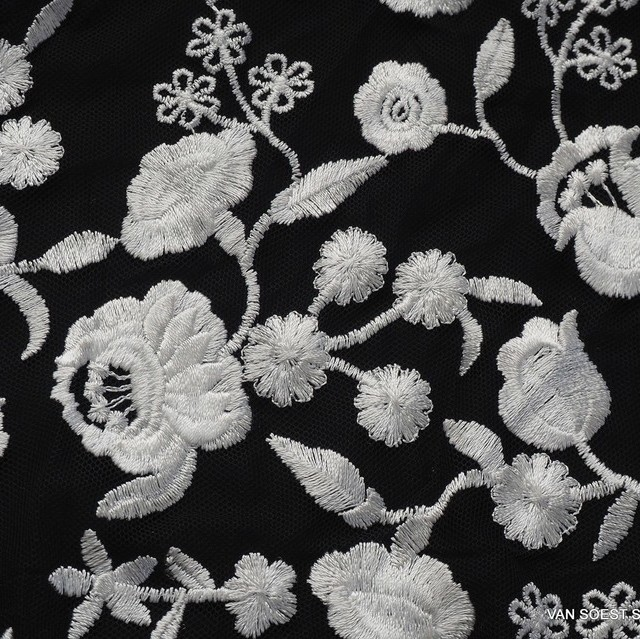 Rose embroidery in black - white on black soft tulle