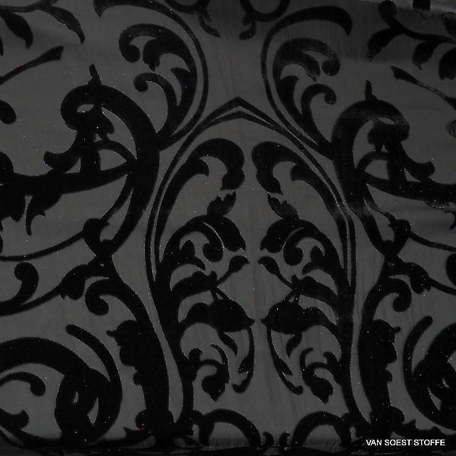 Samt Ausbrenner Klassiker in tief Schwarz | Ansicht: Samt Ausbrenner Klassiker in tief Schwarz
