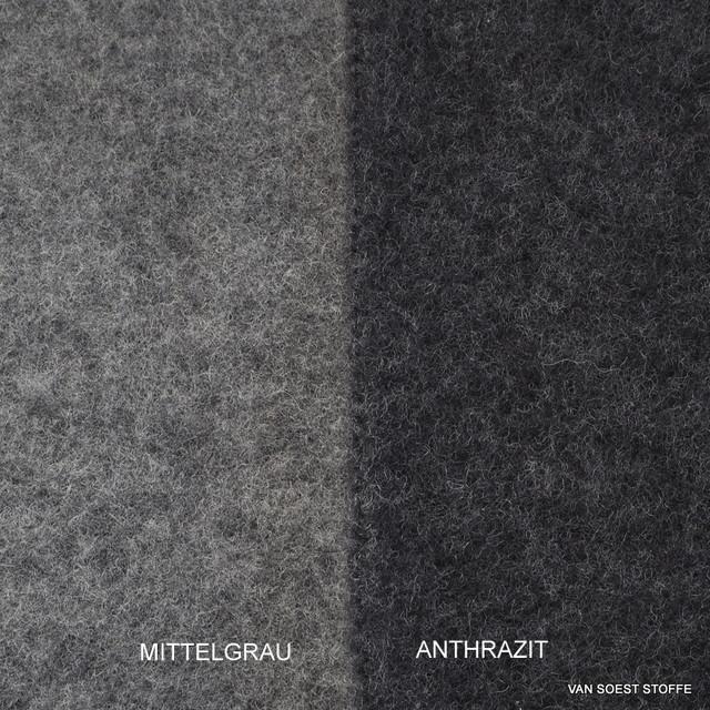100% Schurwoll Fleece GOTS in Mittelgrau