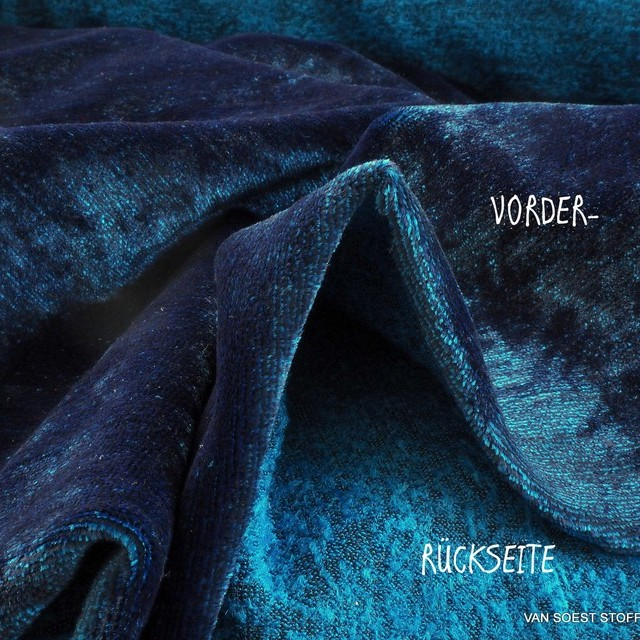Black-Turquoise-Blue Melange Stretch Designer velvet in viscose