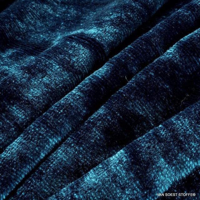 Schwarz-Türkis-Blauer Melange Stretch Designer Samt in Viskose | Ansicht: Schwarz-Türkis-Blauer Melange Stretch Designer Samt in Viskose