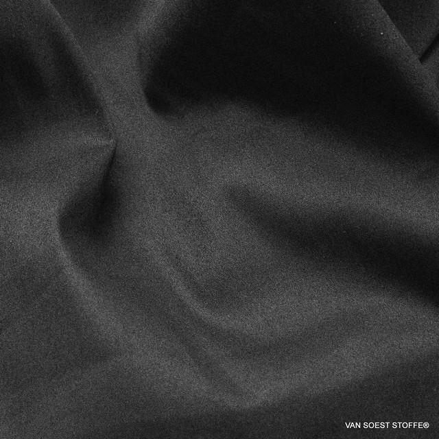 Schwarzer Stretch Baumwoll Satin in matt