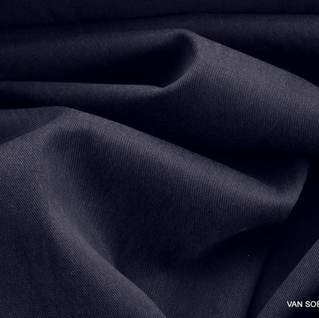 Schwere Stretch Köper in TENCEL™ Mischung in Navy Bleu | Ansicht: Schwere Navy Stretch Köper in TENCEL® Mischung