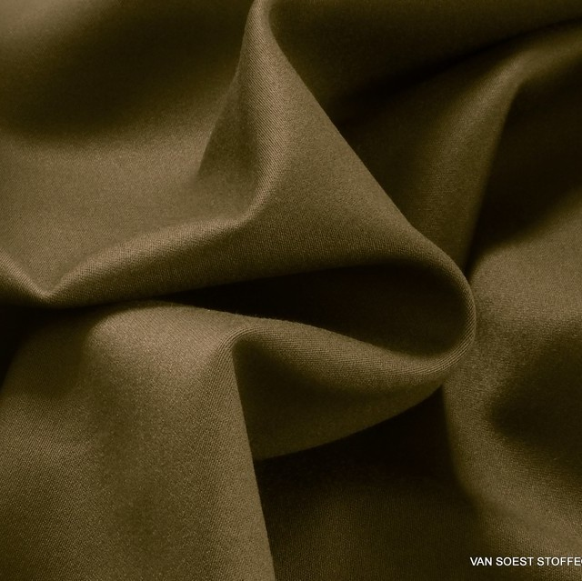 Schwere Stretch Satin in TENCEL™ Mischung in Turmeric = Braun-Oliv