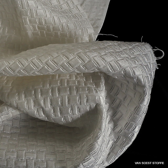 Seide - Baumwolle Satin Schachbrett Jacquard in Woll-Weiß