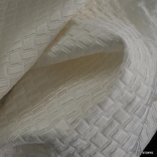 Silk-cotton satin checkered jacquard in broken-white | View: Silk-cotton satin checkered jacquard in broken-white