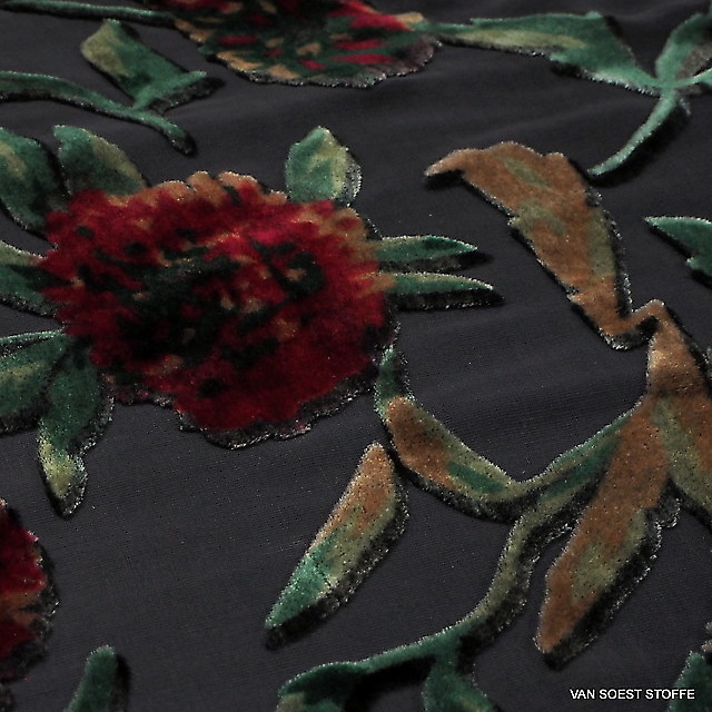 Velvet burnout silk-viscose roses in black dark-burgundy-red-nougat-green