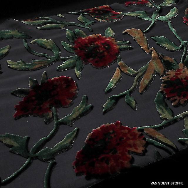 Seiden Ausbrenner Ranken + Blumen in Schwarz Burgund Rot Nougat Grün | Ansicht: Seiden Ausbrenner Ranken + Blumen in Schwarz Burgund Rot Nougat Grün