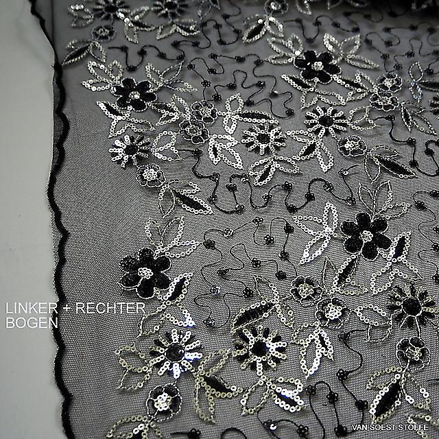 Silber Pailletten auf schwarzen Tüll mit beidseitigem Minibogen | Ansicht: Silber Pailletten auf schwarzen steifen Tüll mit beidseitigem Minibogen
