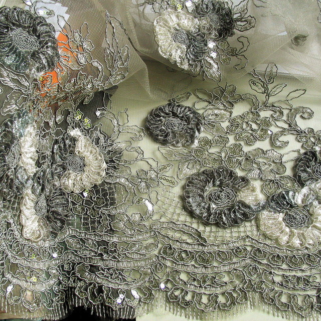 Silver coloured flower lace on grey coloured mesh | View: Silver coloured flower lace on grey coloured mesh