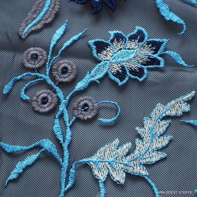 Soft Spitze in Bleu - Weiß auf weichem NylonTüll | Ansicht: Soft Spitze in Blue - Weiß auf weichem Tüll