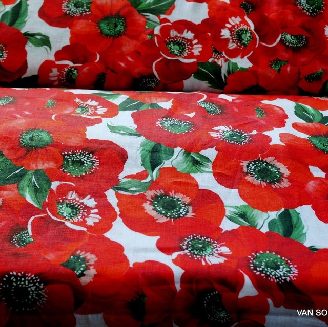 Summer flowers print on 100% linen - Made in Italy | View: Summer flowers print on 100% linen - Made in Italy