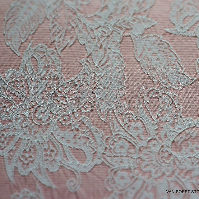 Spitzen Immitat als Jacquard gewebt in Rosa-Weiß | Ansicht: Spitzen Imitat als Jacquard gewebt in Rosa-Weiß