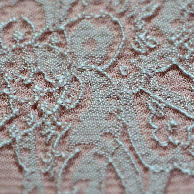 Spitzen Immitat als Jacquard gewebt in Rosa-Weiß   Ansicht: Spitzen Imitat als Jacquard gewebt in Rosa-Weiß