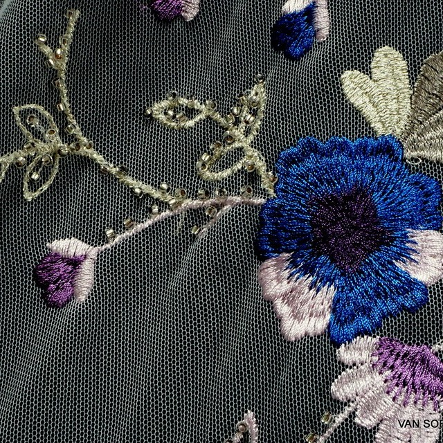 Stabs flowers fantasy embroidery on tulle