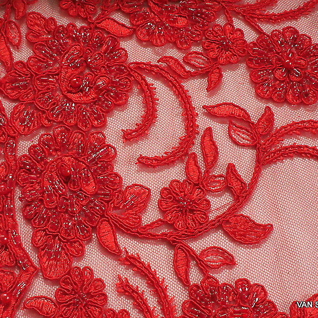 Strass + Perlen bestickte Blumen -Blätter Stickerei in Scharlach Rot
