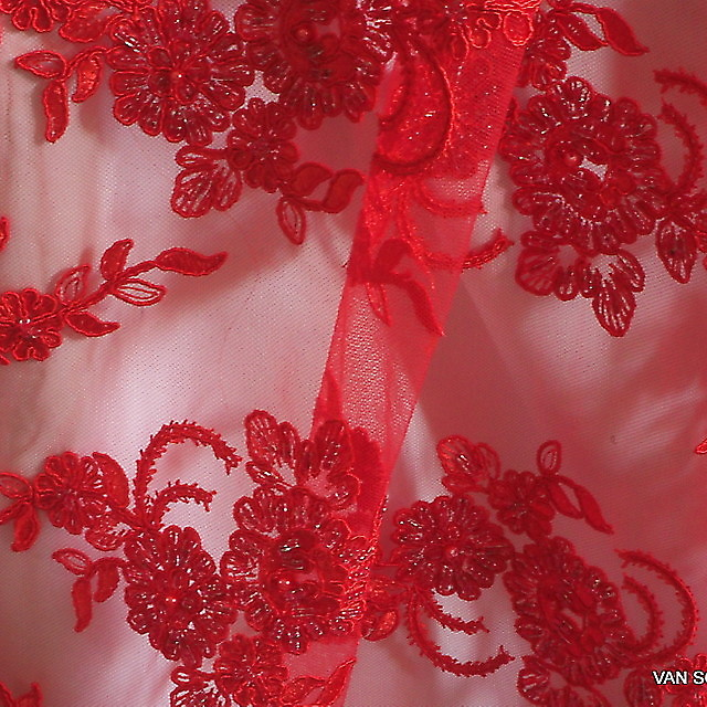 Strass + Perlen bestickte Blumen -Blätter Stickerei in Scharlach Rot | Ansicht: Strass + Perlen bestickte Blumen -Blätter Stickerei in Scharlach Rot