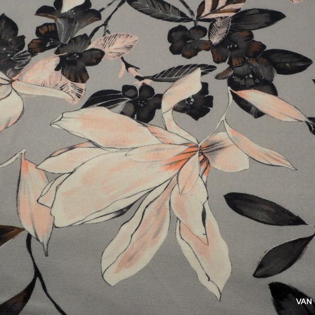 Stretch Blumen Druck in Grau - Pastell