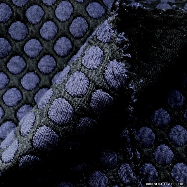 Stretch double jersey polka dots in navy black