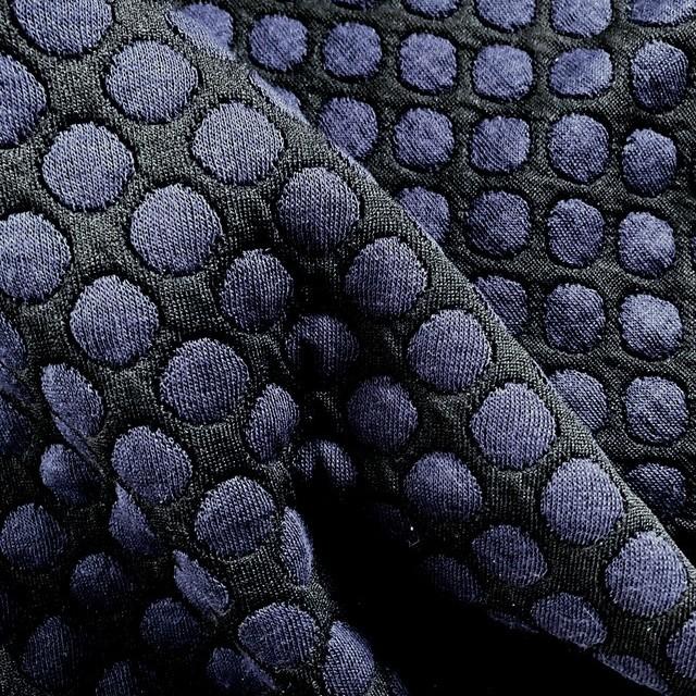 Stretch Doppel Jersey Tupfen in Marine Schwarz | Ansicht: Stretch Doppel Jersey Tupfen in Marine Schwarz