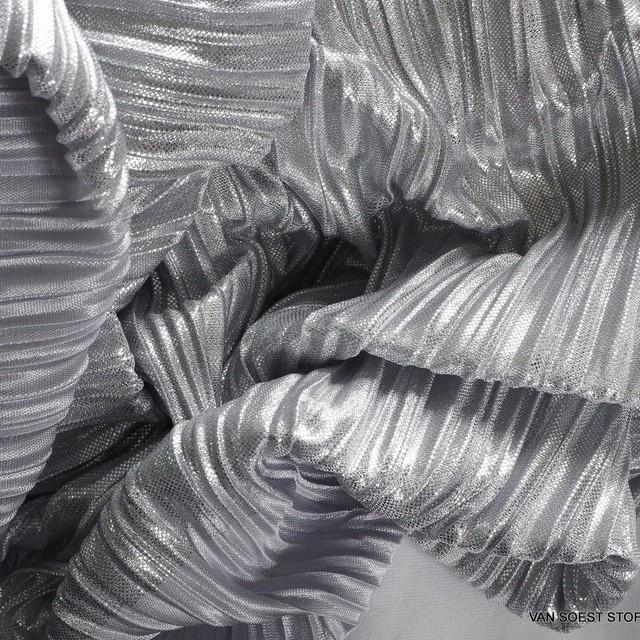 Stretch Falten Plissé in Silber