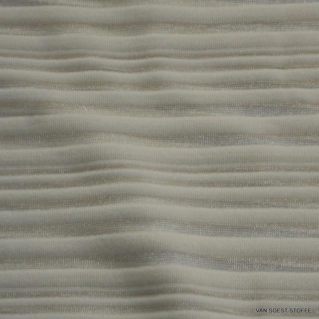 Stretch Glanz Rib Plissee Streifen in Creme-Weiß