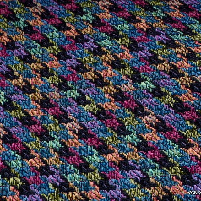 Stretch Hahnentritt Jacquard Tweed in Schwarz-Gold-Pink-Sky