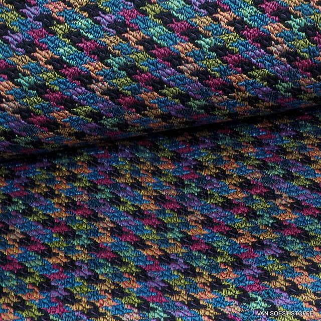 Stretch Hahnentritt Jacquard Tweed in Schwarz-Gold-Pink-Sky | Ansicht: Stretch Hahnentritt Jacquard Tweed in Schwarz-Gold-Pink-Sky