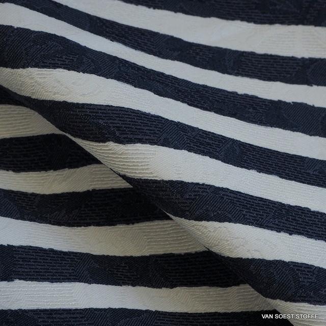 Stretch Jeans Jacquard in Marine - weißen quer Streifen | Ansicht: 1207 - Stretch Jeans Jacquard in Marine - Weißen quer Streifen