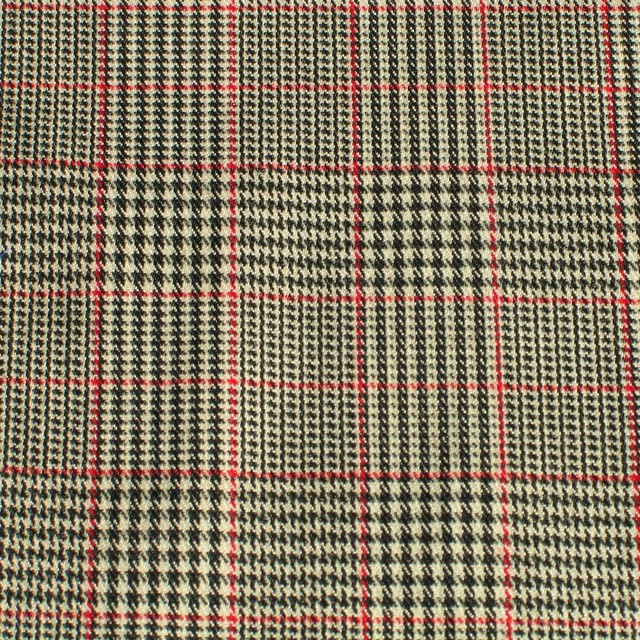 Stretch Klassik Prince de Galles Karo - stoffe online | Ansicht: Stretch Klassik Prince de Galles in Grau - Rot