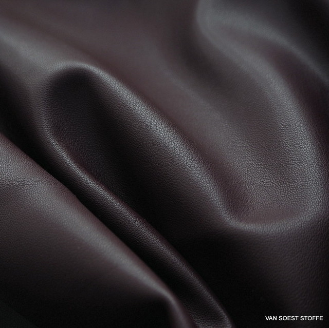 Stretch velours leatherimitation in burgundy-camel