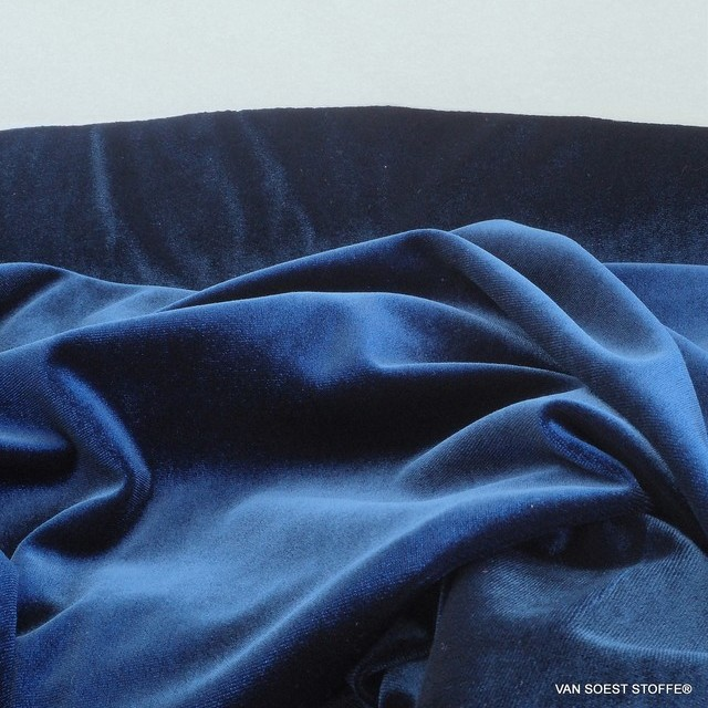 Stretch velvet in royal blue