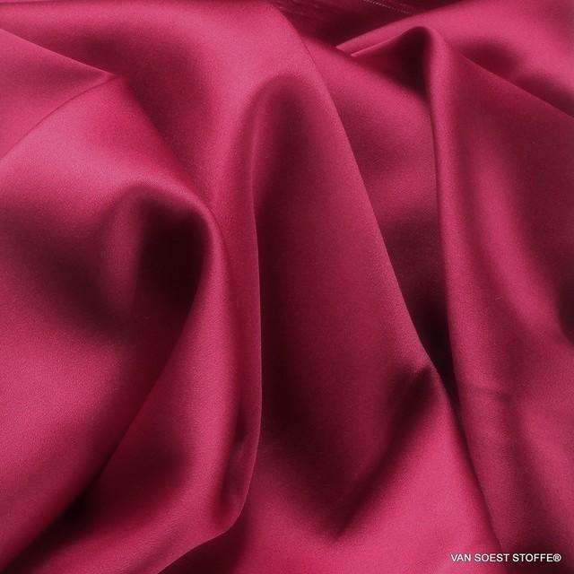 Stretch silk satin in cherry red