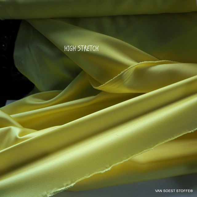 Stretch silk satin in great lemon yellow