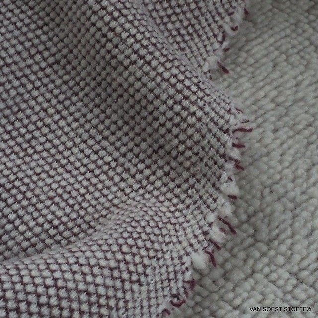 Stretch knit cotton blend as sweat fur in burgundy white