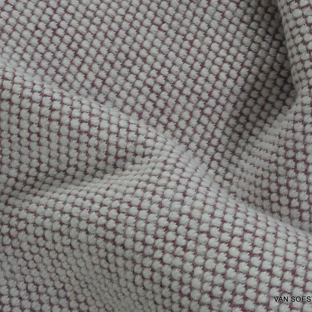 Stretch Strick Baumwollmischung als Sweat Pelz in Burgund-Weiß | Ansicht: Stretch Strick Baumwollmischung als Sweat Pelz in Burgund-Weiß