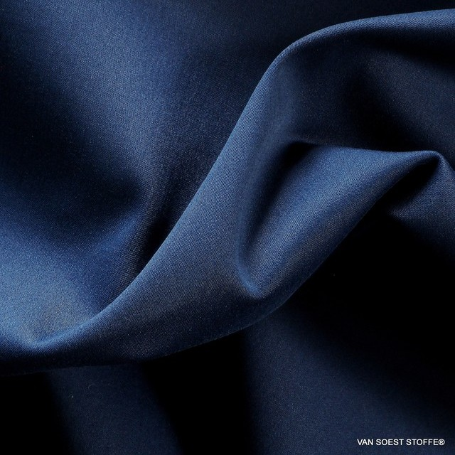 Stretch TENCEL® - cotton matte satin in steel blue