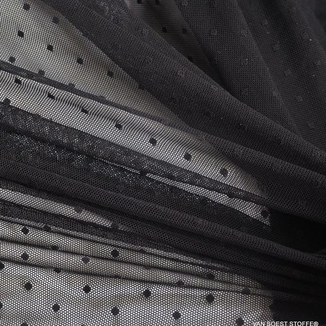 Stretch Tupfen-Jaquard 3mm Tüll in der Farbe Tiefschwarz