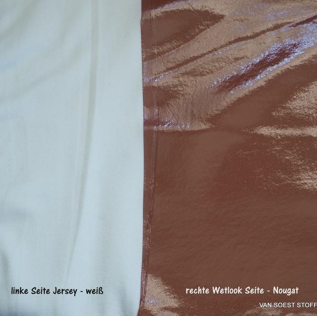 Stretch Wetlook soft Vinyl mit softer Abseite in Farbe Nougat | Ansicht: Stretch Wetlook soft Vinyl mit softer Abseite in Farbe Nougat
